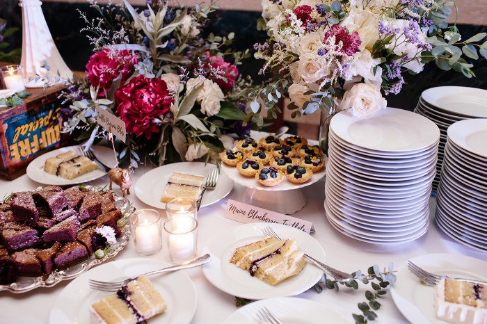 Trillium Caterers Dessert Table Maine Wedding